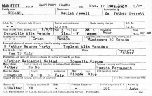 1938 US immigration arrival manifest